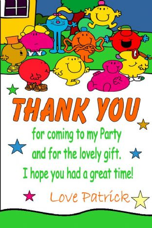 Personalised Mr Men / Little Miss Thank You Cards